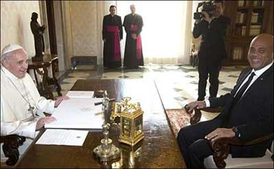 Le président Martelly reçu par le pape